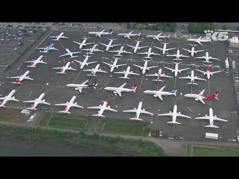 Grounded 737 Max 8 jets parked at Seattle's Boeing Field
