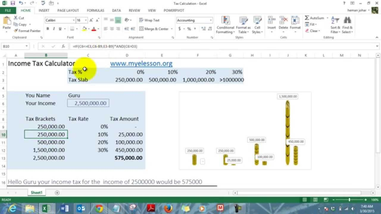 Make Income Tax Calculator in Excel Hindi