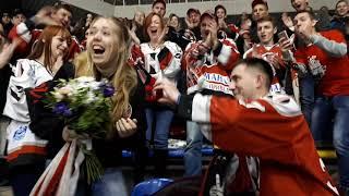 """Болельщик """"Немана"""" сделал предложение своей девушке на хоккейном матче в Гродно"""