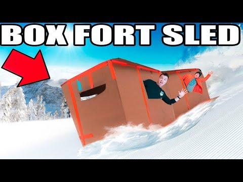 WORLDS BIGGEST BOX FORT SLED CHALLENGE!! 📦❄️ Jumps, Stunts & More