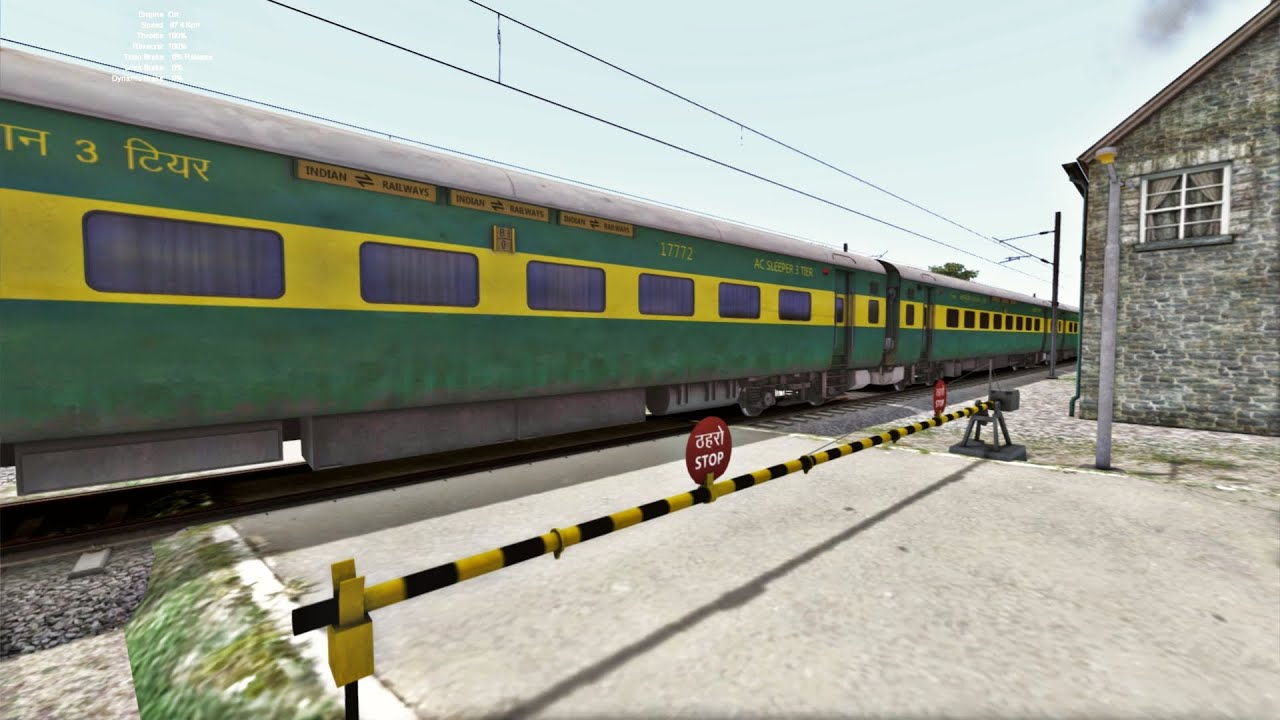 High Speed crossing of Garib Rath Express with WDG-4D at Level Crossing
