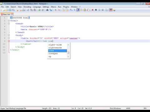 How to create a basic html file and create a manu bar with nested table logic...
