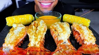 ASMR EATING SEAFOOD LOBSTER TAILS WITH CHEESE CORN ON THE COB JERRY NO TALKING MOUTH SOUNDS MUKBANG
