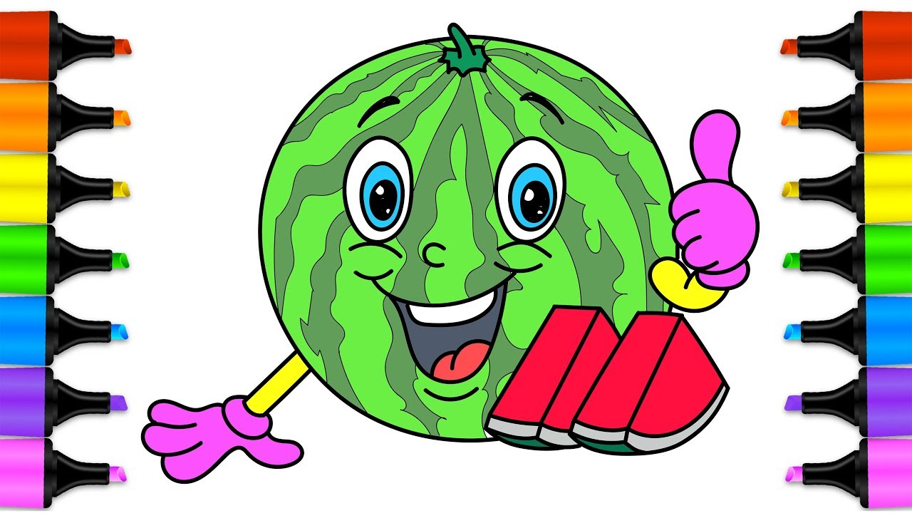 Learn drawing for kids with coloring pages Watermelon. How to Draw ...