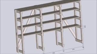 Деревянный стеллаж из досок и бруса(Проект, размеры и этапы изготовления деревянного стеллажа из досок и бруса своими руками., 2016-08-06T22:04:14.000Z)