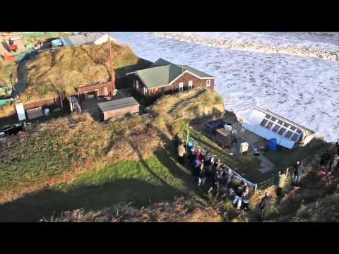 Aerial footage of the sea surge, December 2013 - Hemsby, Norfolk, England