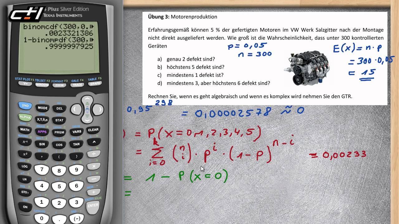 Binomialverteilung || Einzelne und kumulierte Wahrscheinlichkeiten ...
