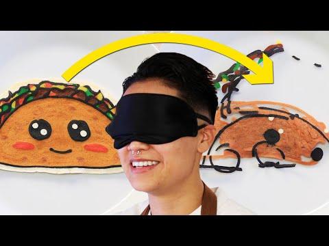Pancake Artist Tries Making Pancake Art Blindfolded • Tasty