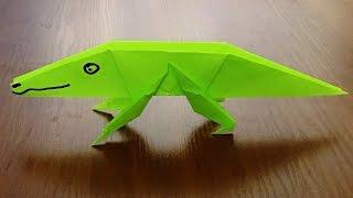 Оригами крокодил из бумаги. Поделки из бумаги своими руками. Origami Crocodile