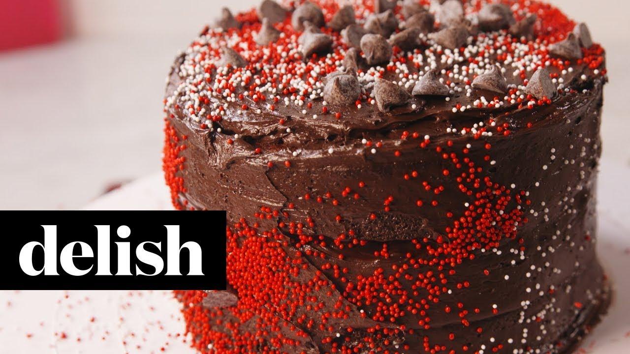 Valentine S Day Dark Chocolate Cake Delish Youtube