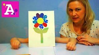 Аппликация из цветной бумаги Цветочек для бабушки Applique of colored paper Flower for grandma