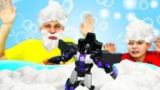 Роботы Трансформеры - Ванна с Энергоном для Десептиконов! – Игры для мальчиков.