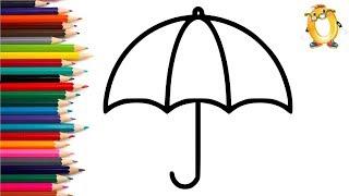 Раскраска для детей ЗОНТИК. Мультик - Раскраска. Учим цвета II ОБУЧАШКА ТВ