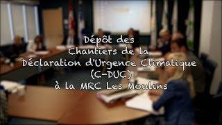Dépôt des Chantiers de la Déclaration d'Urgence Climatique (C-DUC) à la MRC Les Moulins