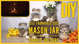 DIY Farmhouse Mason Jar Candle Holders - Valentine's Day Or Any Day Decoration - Neutral Color Decor