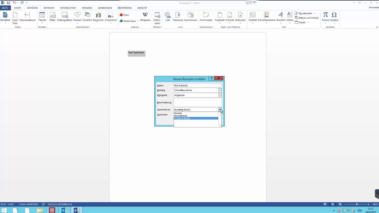 Schnellbausteine im Word und Outlook gemeinsam verwenden - YouTube