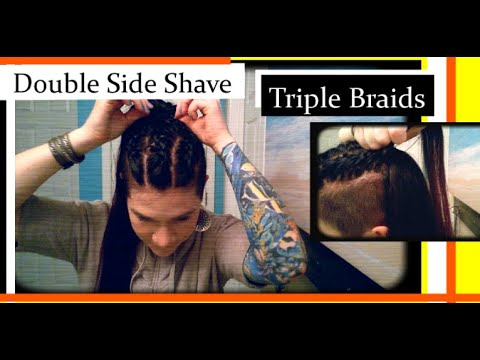 diy-double-side-shave-hairstyles:-triple-braids!!