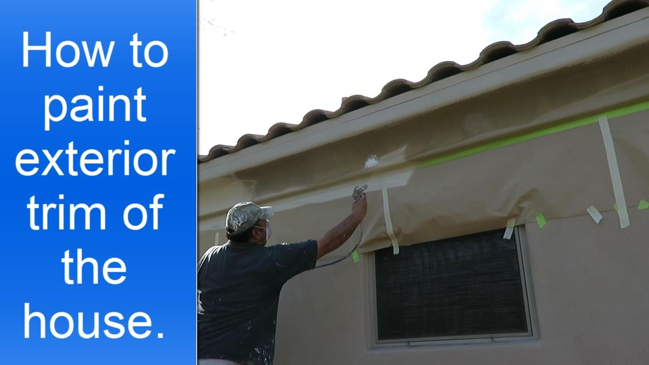 How to paint exterior house trim using a spray gun youtube for What to paint trim with