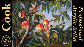 Peaches on a Tree an Acrylic Live Tutorial with Ginger Cook