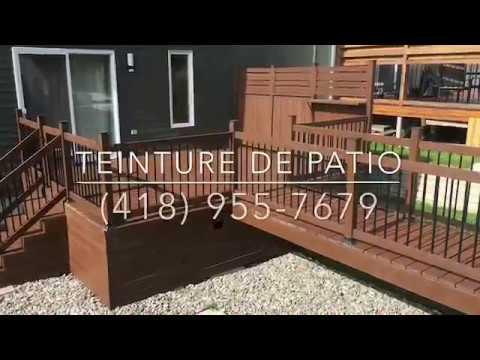 teindre un deck en bois trait teinture olympic maximum d co patio youtube. Black Bedroom Furniture Sets. Home Design Ideas