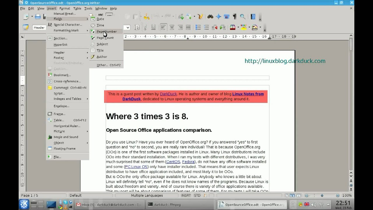 How To Add Page Numbers In LibreOffice And OpenOffice.Org