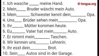 A1 Übung: mein, meine, dein, sein, unser, euer, ihr - German: my, your, his, her, its, our, their