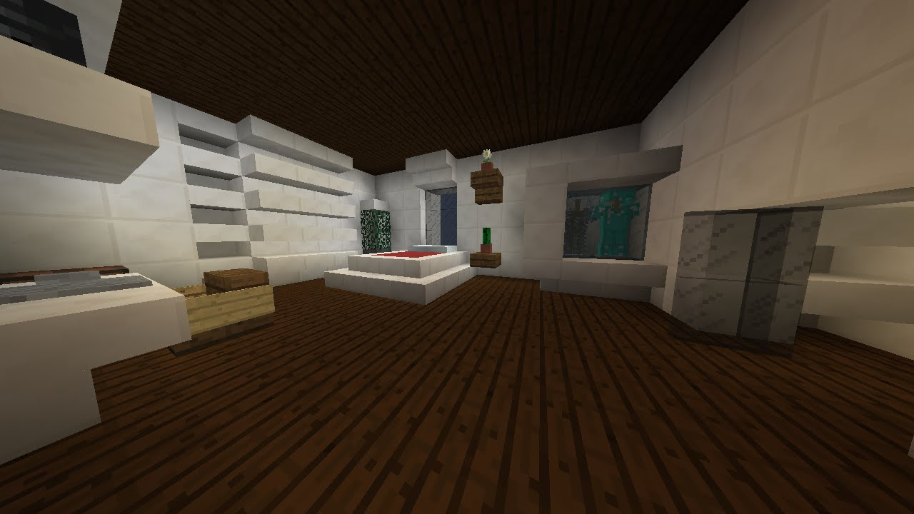 Minecraft - Modern House Building - (16) Master Bedroom ...