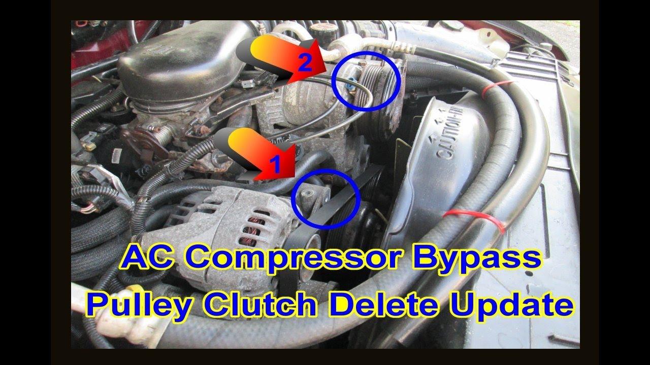 medium resolution of update gmc chevy 4 3l vortec ac compressor bypass clutch pulley delete removal blazer jimmy s10