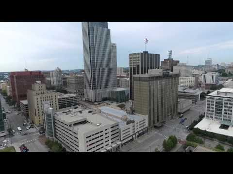 Downtown Omaha flyover with UAV