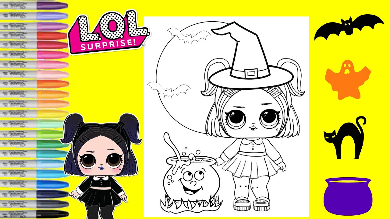 Lol surprise dolls coloring book page dusk halloween coloring lol surprise