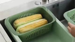 물기싹 2칸세척바구니 야채 과일 싱크대 설거지통 물빠짐…