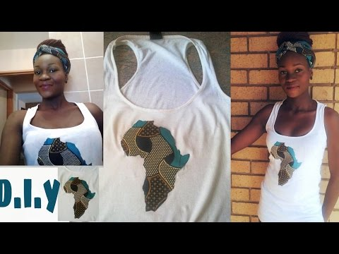 DIY african print fabric map on tshirt/vest, africa map with ankara/ kanga fabric