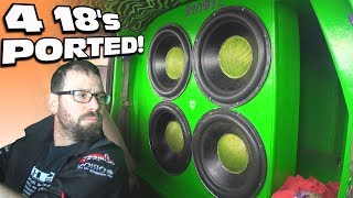 PORTED SUBS BLOWING AIR w/ 4 18 inch Subwoofers & EXTREME Car Audio BASS Songs