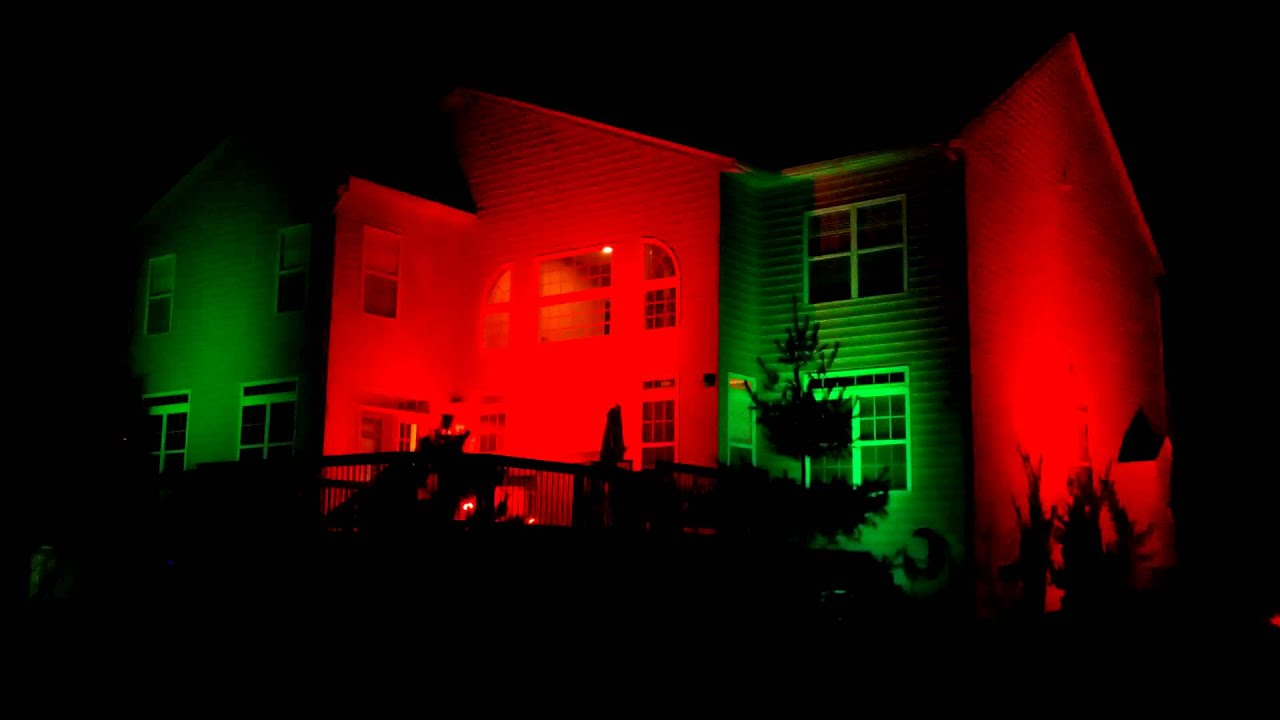 holiday flood lights against house youtube