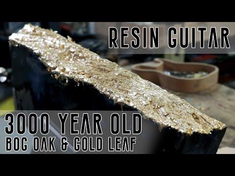Carved Epoxy Resin River Guitar Build - Bog Oak & Gold Leaf 1 of 5