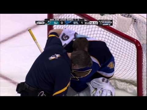 Barret Jackman & Jaroslav Halak collision. San Jose Sharks vs St. Louis Blues 4/14/12 NHL Hockey