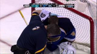 Barret Jackman & Jaroslav Halak collision. San Jose Sharks vs St. Louis Blues 4/14/12 NHL Hockey