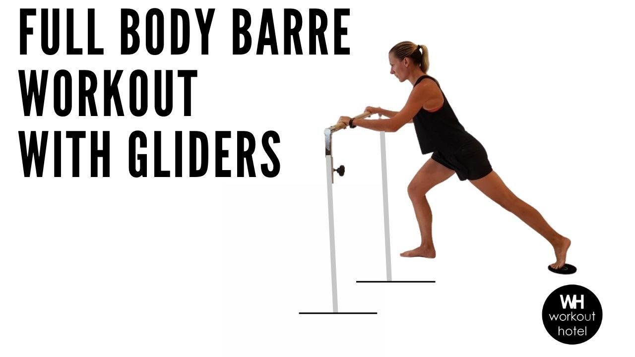 FULL BODY BARRE WORKOUT with GLIDERS & DUMBBELLS