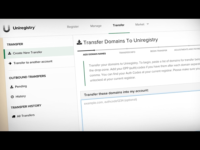 It's Easy To Transfer Domain Names To Uniregistry