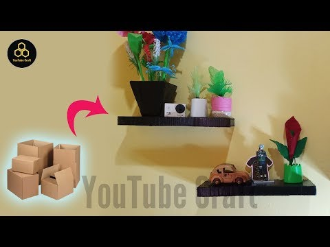 Easy!! How to make wall shelf decoration from used cardboard