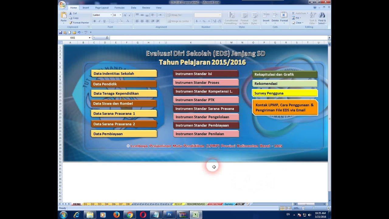 Aplikasi Eds Evaluasi Diri Sekolah 2016 Format Microsoft Excel