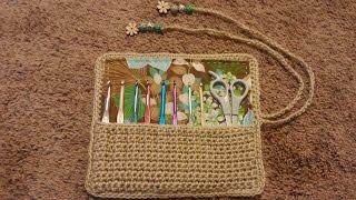 CROCHET How to: Crochet (ROLL UP CROCHET HOOK HOLDER WITH LINER) #TUTORIAL #97 LEARN CROCHET DYI