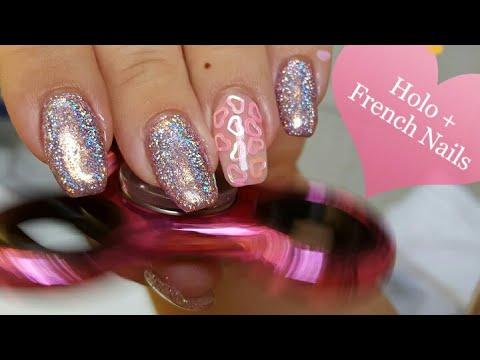 Holo + French Nails Semilac & Striplac Kombi