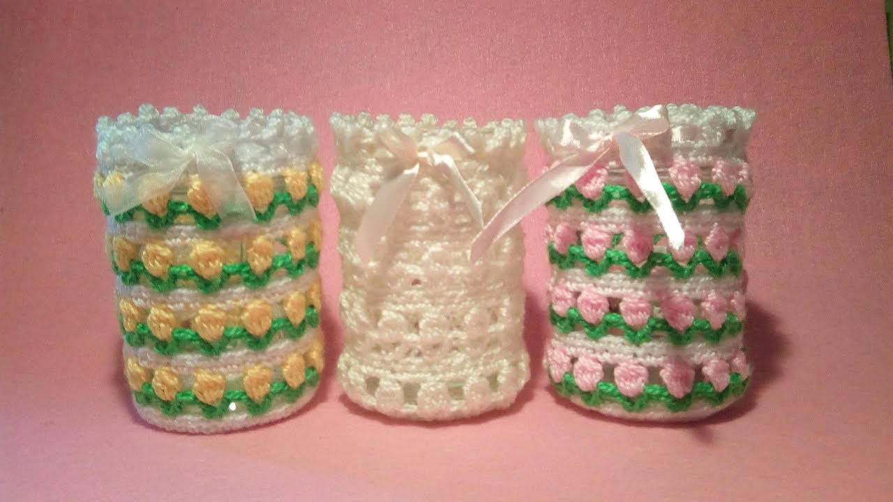 Vasetto Portacandela Uncinetto Tutorial Candle Holder Crochet Jar