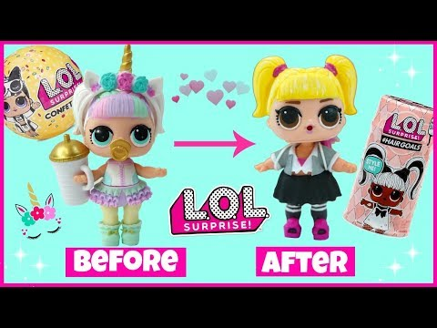 LOL Surprise Hairgoals Oops Baby Custom Doll Makeover L.O.L Surprise Confetti Pop Unicorn DIY
