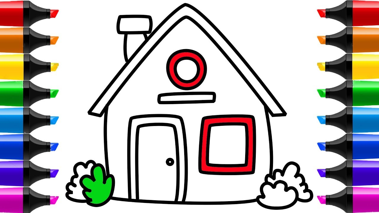 Home Coloring Page How To Draw House Youtube Videos For Kids Learning
