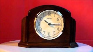 Seiko Cayuga Qxe043blh Wooden Mantle Alarm Clock