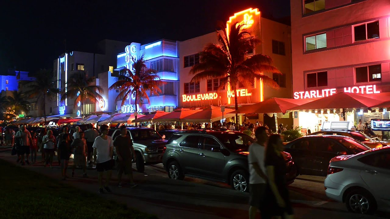 ocean drive miami beach static hd night time video youtube. Black Bedroom Furniture Sets. Home Design Ideas