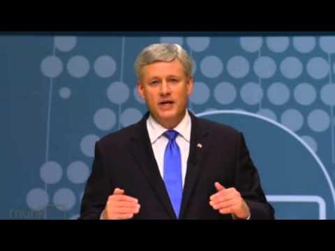 Harper, Trudeau spar over government's right to revoke citizenship: Munk Debate