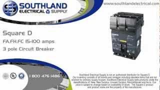 square d fa36100 100 amp 600 volt 3 pole circuit breaker